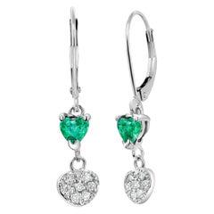 Heart Shape Emerald Diamond White Gold Hoop Earrings