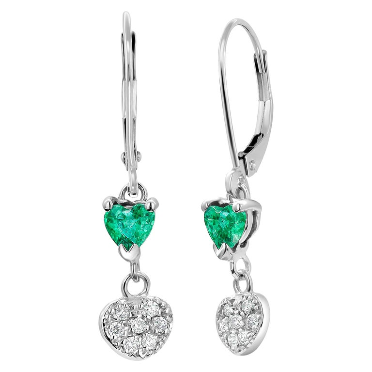 Heart Shape Emerald and Diamond White Gold Hoop Earrings For Sale