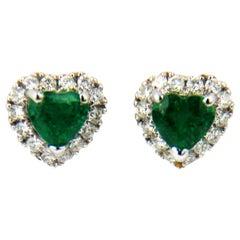 Heart Shape Emerald Diamonds 18 Karat White Gold Stud Earrings