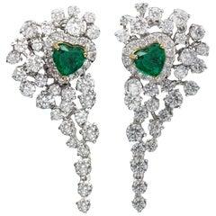 Heart Shape Emerald Earrings Dangling Diamond Earrings 18 Karat White Gold