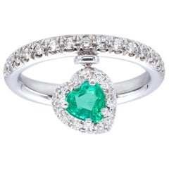 Heart Shape Emerald Ring with Diamonds from d'Avossa True Love Collection