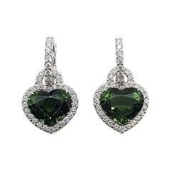 Heart Shape Green Tourmaline with Diamond Earrings Set in 18 Karat White Gold