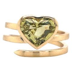 Heart Shape Greenish Sapphire Ring 2.13 Carat 14 Karat Yellow Gold
