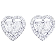 Heart Shape Illusion Diamond Stud Earring in 18 Karat White Gold