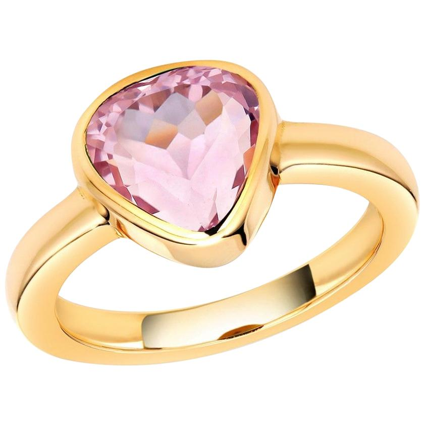 Heart Shape Kunzite Bezel Raised Dome Yellow Gold Cocktail Ring