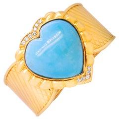 Heart Shape Persian Turquoise 18 Karat Gold and Diamond Large Cuff Bracelet