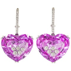Heart-Shape Pink Sapphire Diamond Earrings by Chopard