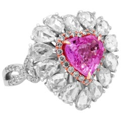 Heart Shape Pink Sapphire Gold and Pearshape Rose Cut Diamond Ring Charm Pendant