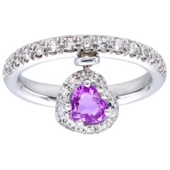 Heart Shape Pink Sapphire Ring with Diamonds from d'Avossa True Love Collection