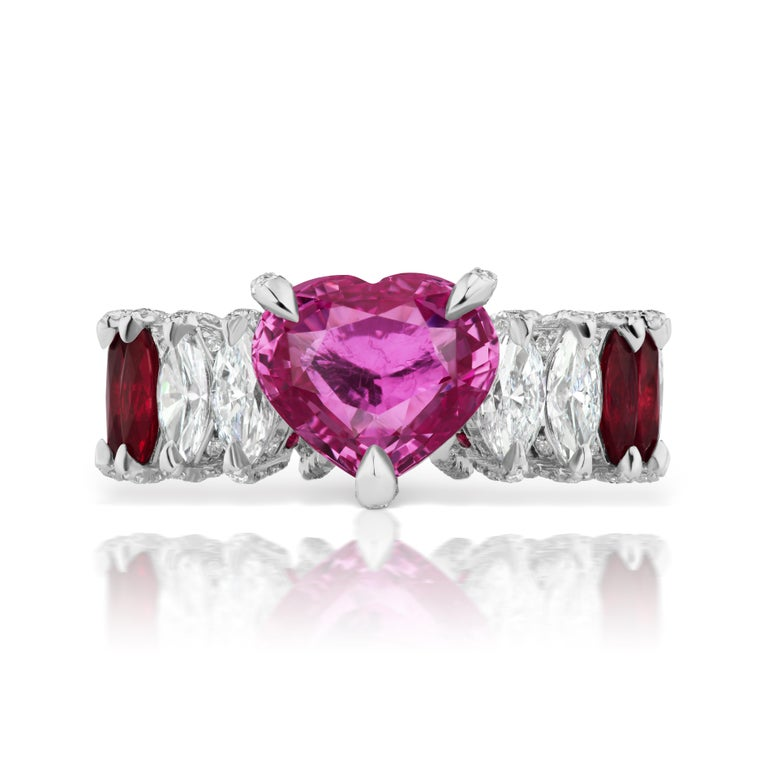 Heart Cut Heart Shape Pink Sapphire, Ruby and Diamond Marquise Ring For Sale