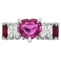 Heart Shape Pink Sapphire, Ruby and Diamond Marquise Ring