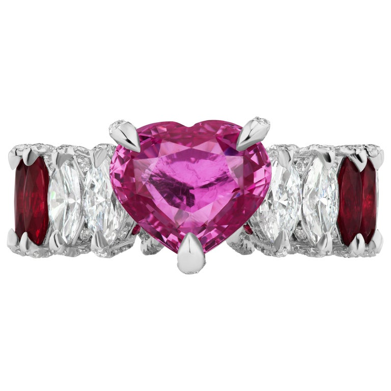 Heart Shape Pink Sapphire, Ruby and Diamond Marquise Ring For Sale