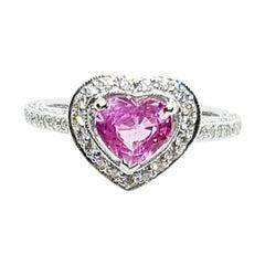 Heart Shape Pink Sapphire with Diamond Ring Set in 18 Karat White Gold Settings