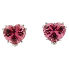 Heart Shape Pink Tourmaline 14 Karat White Gold Stud Earrings