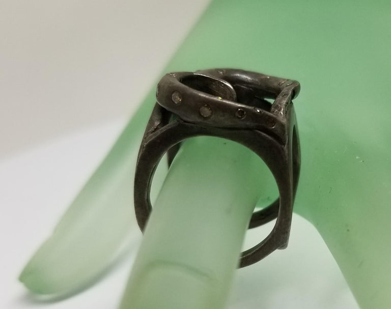 Women's or Men's Heart Shape Ring with Diamonds in Silver Gesha For Sale