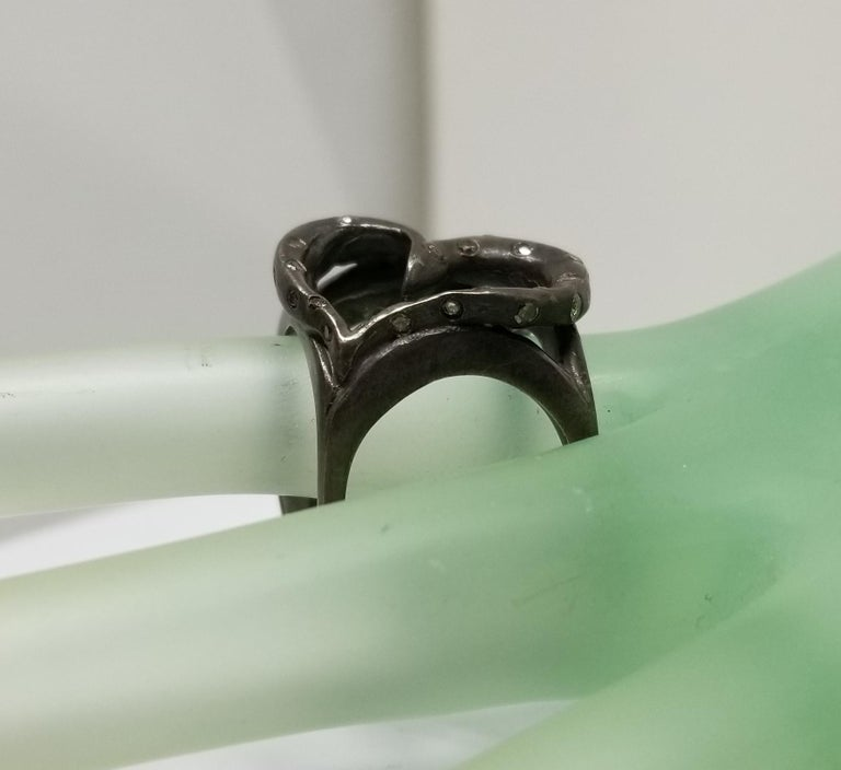 Heart Shape Ring with Diamonds in Silver Gesha For Sale 1