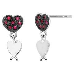 Heart Shape Ruby Blackened White Gold Earrings with Heart Shape Dangles