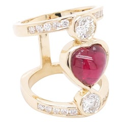 Heart Shape Ruby Cabochon and Ideal cut Diamond ring in 14 Karat Yellow Gold