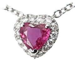 Heart Shape Ruby Diamond 18 Karat White Gold Necklace