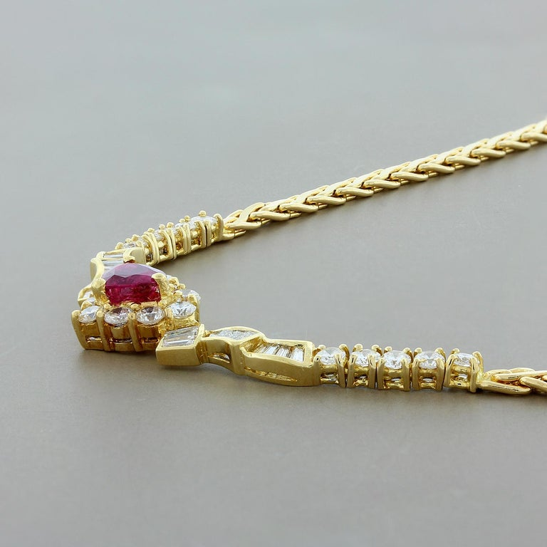Ruby Heart Diamond Gold Necklace In New Condition For Sale In Beverly Hills, CA
