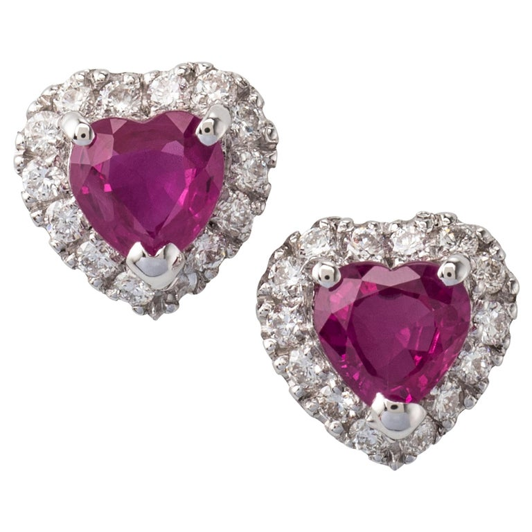 Heart Shape Ruby Diamond Stud Earrings 18 Karat White Gold