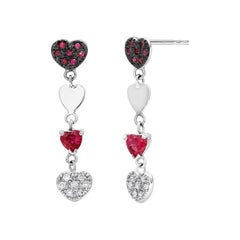 Heart Shape Ruby Diamond White Gold Earrings Blacken