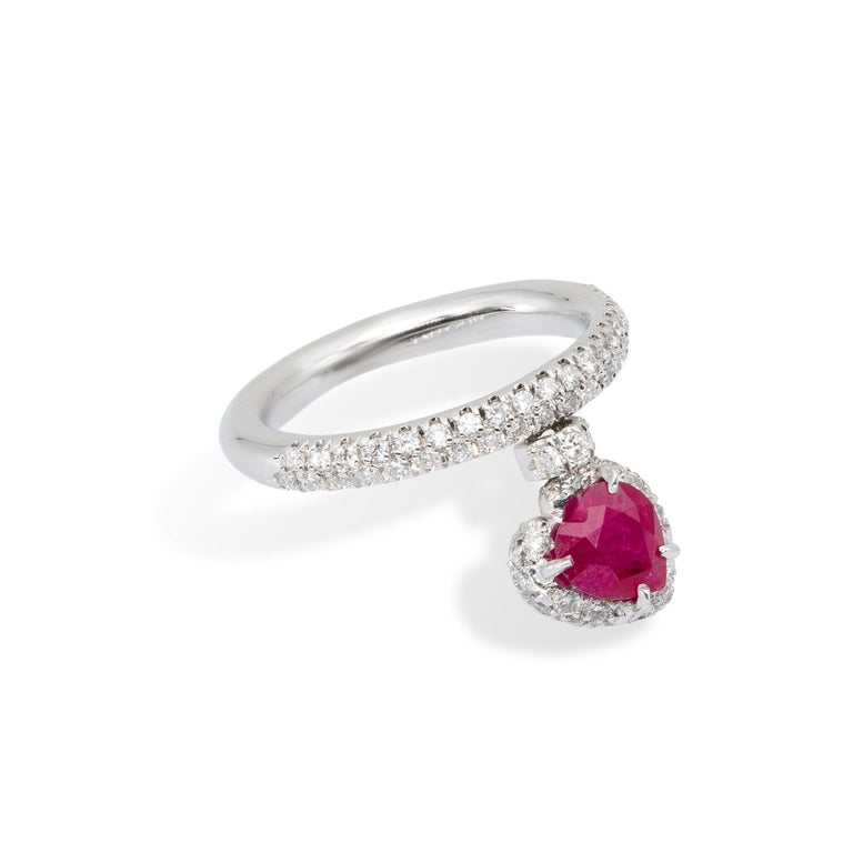 Pear Cut Heart Shape Ruby Ring with Diamonds from d'Avossa True Love Collection For Sale