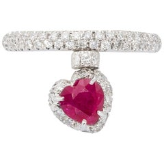 Heart Shape Ruby Ring with Diamonds from d'Avossa True Love Collection