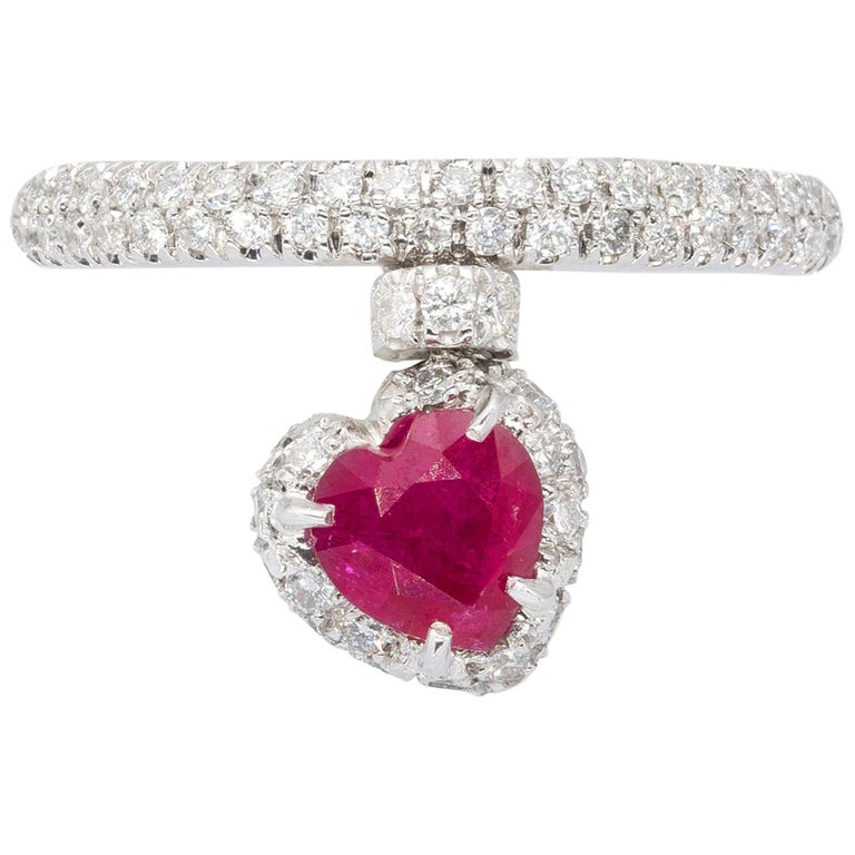 Heart Shape Ruby Ring with Diamonds from d'Avossa True Love Collection For Sale