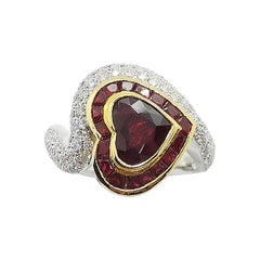 Heart Shape Ruby with Diamond Ring Set in 18 Karat White Gold Setting