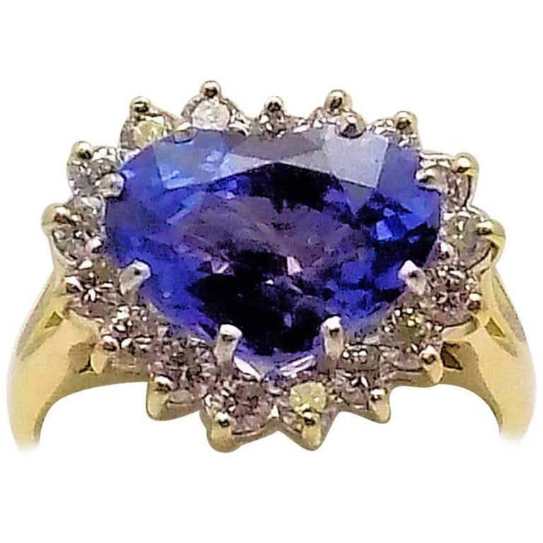 Heart Shape Sapphire and Diamond Ring For Sale