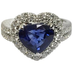 Heart Shape Sapphire and Diamond Ring