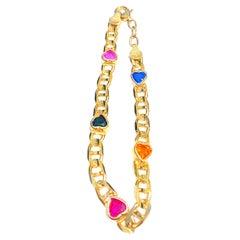 Heart-Shape Sapphire, Ruby, Peridot, Citrine 14k Yellow Gold Charm Bracelet