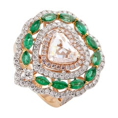 Heart Shape Shape Diamond with Diamonds and Emeralds Around Set in 18k Gold