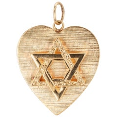 Heart Shape Star of David Yellow Gold Charm Pendant