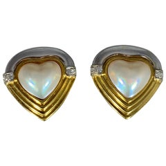 Heart Shape White Mabe Pearl & Diamond Stud Earrings 18 Karat Gold Two-Tone