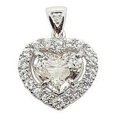 Heart Shape White Sapphire with Diamond Pendant Set in 18 Karat White Gold