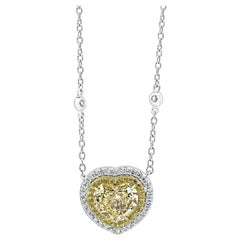 Heart Shape Yellow Diamond Double Halo Two-Color Gold Diamond by Yard Necklace