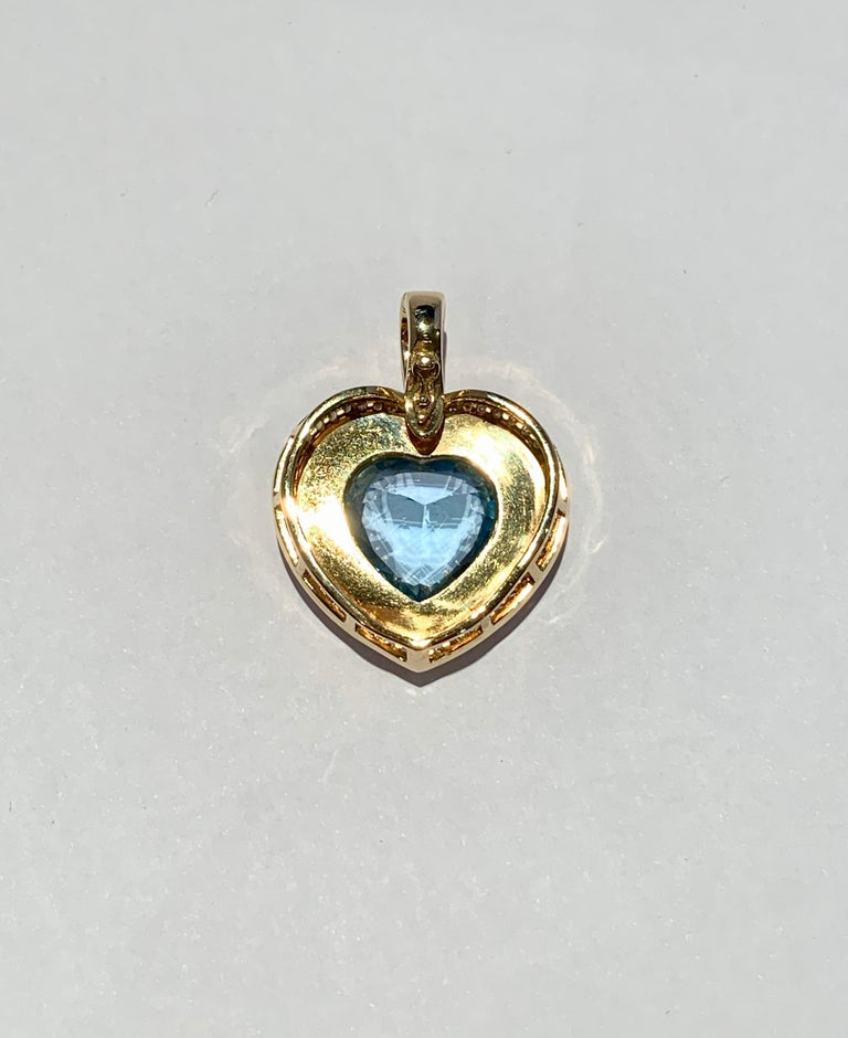 Heart Cut Heart Shaped 10 Carat Blue Topaz Onyx and Diamond Pendant in 9 Carat Yellow Gold For Sale