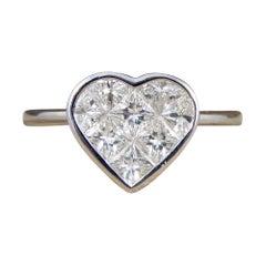 Heart Shaped 1.20 Carat Total Diamond Ring in 18 Carat White Gold