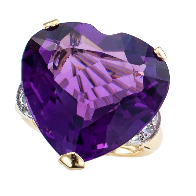 Retro Heart Shaped Amethyst Diamond Gold Cocktail Ring For Sale