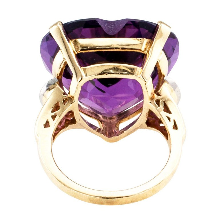 Heart Shaped Amethyst Diamond Gold Cocktail Ring For Sale 1