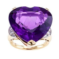 Heart Shaped Amethyst Diamond Gold Cocktail Ring
