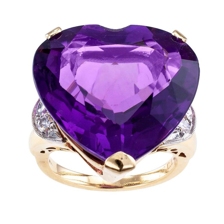 Heart Shaped Amethyst Diamond Gold Cocktail Ring For Sale