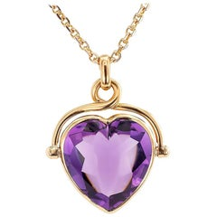 Heart Shaped Amethyst Rose Gold Pendant Necklace
