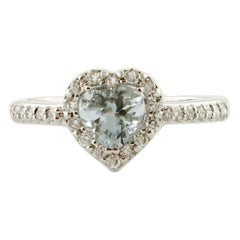 Heart-Shaped Aquamarine, Diamonds, 18 Karat White Gold Ring