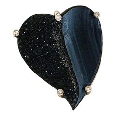 Heart-Shaped Black Onyx Drusy with Diamonds Pendant or Brooch