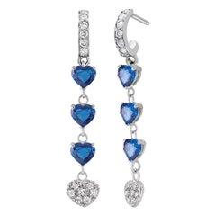 Heart-Shaped Blue Sapphire Diamond White Gold Hoop Drop Earrings