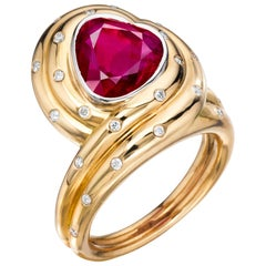 Heart-Shaped Burma Ruby and Diamond Ring by Siegelson, New York