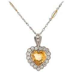 Heart-Shaped Citrine Pendant-Necklace with Diamonds